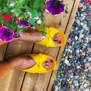 Yellow Mustard suede Knotted Slide Sandals 10
